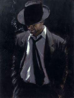 the man in the black suit- Fabian Perez Mafia Wallpaper, Fabian Perez, Character Art, Character Design, Call Of Cthulhu, Renaissance Art, Portrait Art, Black Art, Painting & Drawing