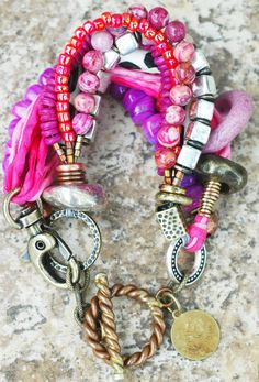 Custom Pink Mixed Media Bracelet Shop online at www.xogallery.com