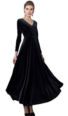2218fc997c3 Urban CoCo Women long sleeve Vneck Velvet Stretchy Long Dress XLarge Black   gt  gt