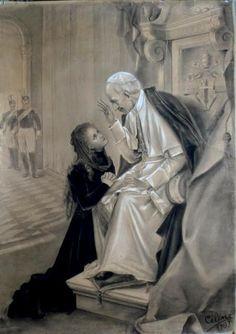 "Scuola Ecclesia Mater: ""Tunc, ut ipsa refert, cæléstis ignis flamma vulneráta est: unde caritáte consúmpta, in écstasim rapta, ferventíssime ingéminans: Deus meus, te díligo; … . Quod autem móriens promíserat, se perénnem rosárum plúviam in terram demissúram, hoc in cælum recépta, innúmeris miráculis reápse adimplévit et in dies adímplet"" (Lect. VI – II Noct.) - SANCTÆ TERESIÆ A JESU INFANTE ET A SACRO VULTU, VIRGINIS"