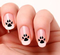 20-Nail-Art-Stickers-Transfers-Decals-733-Dog-paw-prints-Just-peel-amp-stick