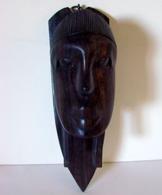 "African Face Dark Wood Hanging Sculpture/Statue 9"" X 4.5"""
