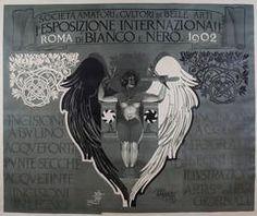 Italian Art Nouveau Period Poster by Mataloni for Black and White Art Exhibit