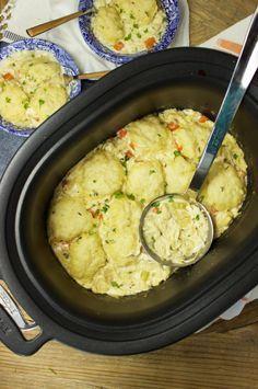 Easy Slow Cooker Chicken and Dumplings recipe from RecipeGirl.com.