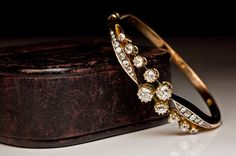 Victorian Russian Rose Gold Crossover Diamond Bangle made in St Petersburg in the 19th century. Stunning!