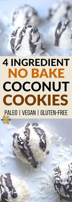 These No Bake Coconut Cookies are our go to when we need a treat on the fly! They come together super quick and are loaded with healthy ingredients. Plus they're paleo, low carb, and sugar-free too! via @wholenewmom