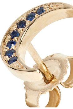 Andrea Fohrman - Mini Crescent 14-karat Gold Sapphire Earring - one size