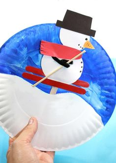 Interactive arts and crafts project for the kids for … Paper plate snowman skier. Interactive arts and crafts project for the kids for the winter. Kids Crafts, Arts And Crafts Projects, Christmas Crafts For Kids, Toddler Crafts, Preschool Crafts, Projects For Kids, Project Ideas, Arts And Crafts Movement, Paper Plate Crafts