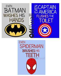 Absolutely love this for a little boys bathroom! Superhero Bathroom Art Prints Set of 3 by OffTheWallbyLeah Superhero Bathroom, Superhero Room, Superhero Rules, Rugrats, Boy Room, Kids Room, Bathroom Art, Bathroom Signs, Bathroom Ideas