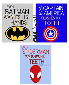 We could make this ourselves but its so much better than the other superhero manners posters! Superhero+Bathroom+Art+Prints++Set+of+3+8x10++by+OffTheWallbyLeah,+$28.00