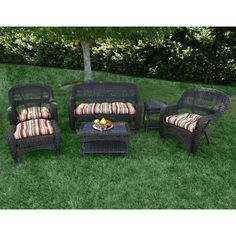 Outdoor Tortuga Portside 6 Piece Conversation Set Monti Pompeii - PS6S-AMBER MONTP