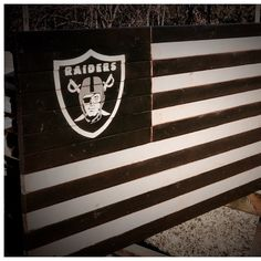 I have added a new Oakland Raiders flag. Stripes are black and silver with traditional Raiders logo in the upper left. Raiders Flag, Oakland Raiders Logo, Raiders Football, Welding Art Projects, Woodworking Projects, Us Army Flag, Football Senior Pictures, American Flag Art, Sports Flags