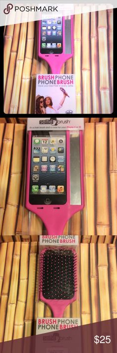 The wet brush - selfie brush. Bundle of two. Cute paddle brush and cell phone case in one. Specially designed for the iPhone 5/5s. Does not fit 5c. Great for the perfect selfie. Price is for 2 brushes. wet brush  Accessories Phone Cases