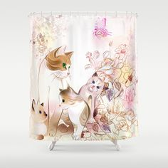 Motherhood Shower Curtain by goatlady | Society6  #ShowerCurtain #cat #mother #HomeDecor  Cute cat with her kittens