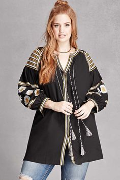 Forever - A woven tunic by Velzera™ featuring allover geo embroidery, a split neck, snap-button front, two tasseled self tie laces, and long tapered sleeves with button cuffs. Big Fashion, Plus Size Fashion, Latest Trends, Forever 21, Bomber Jacket, Tunic, Boho, My Style, Lady