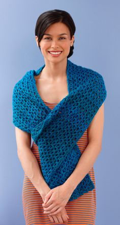 Summer Chill Wrap, I made this in seafoam with a double crochet border for a friend having chemo.