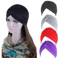 Mujeres turbante musulmán cáncer quimioterapia Cap Stretch Wrap Beanie Cabeza Cubierta Bufanda Sombrero H ~