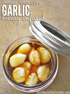A simple honey infused garlic will boost your immune system during cold season. Just two ingredients and five minutes will help ward off colds & the flu!