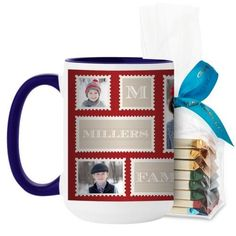 Love Family Stamps Mug, Blue, with Ghirardelli Assorted Squares, 15 oz, Red