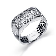 Men's Collection - This stunning 14K white simon-set mens ring is comprised of 1.50ctw princess cut white Diamonds and .23ctw round white Diamonds. - MR1650