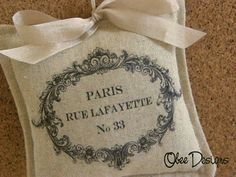 Square Lavender Linen French Sachet with Parisian by Obeedesigns, $12.00