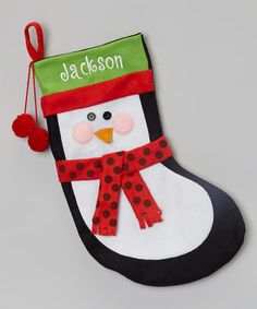 Loving this Black Personalized Penguin Stocking on #zulily! #zulilyfinds
