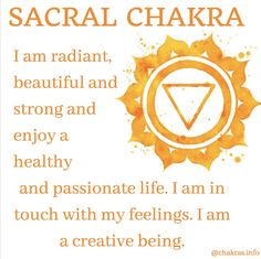 Affirmation for the Sacral Chakra Sacral Chakra Healing, Chakra Meditation, Meditation Music, Mindfulness Meditation, Sacral Chakra Stones, Chakra Crystals, Healing Crystals, Reiki Treatment, Self Treatment