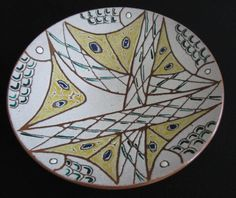 Charles Sucsan , red clay plate signed : Hand made Montreal Canada CH Sucsan 58.