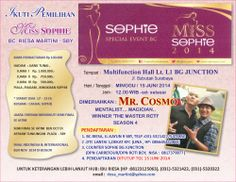 Miss Sophie 2014 Minggu, 15 Juni 2014 At Multifunciton Hall Lt. 1 L1 Bg Junction, Jl. Bubutan – Surabaya 12.00 – Selesai  http://eventsurabaya.net/miss-sophie-2014/