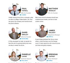 Meet the leadership team at Litmus, where we're helping marketers everywhere get more from email than they ever thought possible. Page Design, Layout Design, Web Design, Newsletter Layout, Organizational Chart, Team Page, Corporate Website, Team Photos