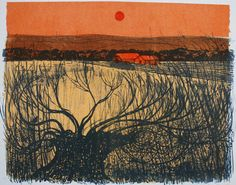 Willows and Downs ROBERT TAVENER Lithograph, x Edition, I cheekily saved this for you as he did loads of sussex views like this! Picture Engraving, Wood Engraving, Painting Prints, Art Prints, Paintings, Landscape Drawings, Landscapes, Patterns In Nature, Printmaking