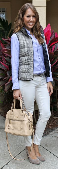 ~light neutrals for winter with a plaid puffer vest~