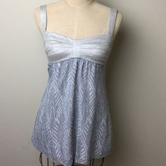 Gorgeous llisLi linen/silk top Bustier and straps are a stretch silver shimmer linen. Lined body is silk. Back zip Isili Tops