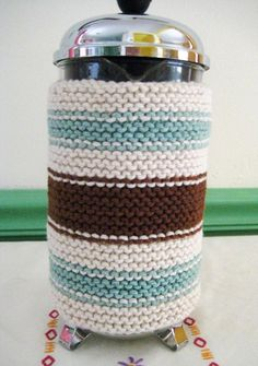 French Press Coffee Cozy Seafoam Green and by CozyKitchenKnits, $18.00