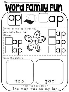 Printables Word Family Worksheets Kindergarten ap family words worksheets davezan word houses house families and houses