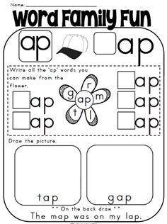 kindergarten phonics worksheets  free printable word family  &