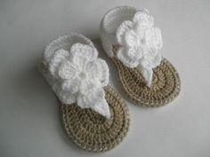 Crochet baby sandals, baby gladiator sandals, baby booties, baby shoes by conniegereaux