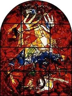 The tribe of Judah_stained glass windows by Marc Chagall at the Hadassah Hebrew University Medical Centre Jerusalem Marc Chagall, Chagall Prints, Chagall Paintings, Jewish Art, Religious Art, Chagall Windows, Mosaic Glass, Glass Art, Tribe Of Judah