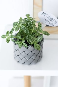 DIY basket weave made of paper (potted plant decor)