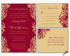 red gold wedding invitations - Penelusuran Google