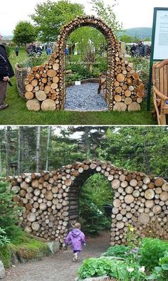 Stunning Tree Log Garden Gate. #Trees #GardenGate