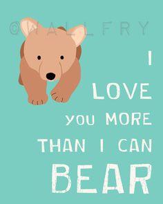 Nursery print. Bear forest animals prints. 8x10 Nursery by Wallfry, $18.00