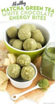 Healthy Matcha Green Tea White Chocolate Energy Bites! Soft, fudgy, sweet... they're a real guilt-free treat.  You'd never know they're refined sugar free and gluten free. Oh, sneaky sneaky.