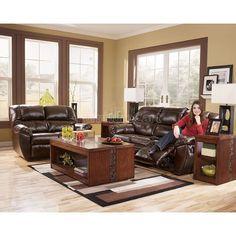 Rouge Durablend Mahogany Reclining Living Room Set