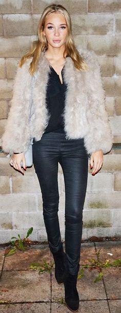 Désirée Nilsson Light Gray Faux Fur Jacket Black Coated Jeans Fall Street Style Inspo
