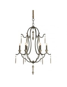 Marisol French Country Simple Dark Gray Iron 6 Light Chandelier - chandeliers - by Kathy Kuo Home French Chandelier, Candle Chandelier, Modern Chandelier, Chandelier Lighting, Candelabra Bulbs, Entry Chandelier, Lighted Centerpieces, Ceiling Lights, Dining Room