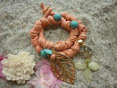 Coral jute bracelet