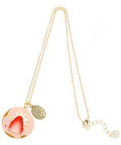 Strawberry cupcake necklace