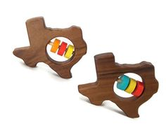 Texas Baby Rattle Modern Wooden Baby Toy Organic by BannorToys