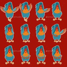 Set of Rooster Flat Icons